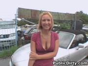 Blonde European Down On Her Knees Sucking Dick In Public