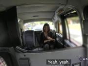 Busty Belgium tourist in London cab