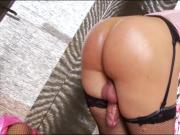 Big butt blondie shemale in lingerie masturbates her cock