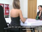 Female agent fingered till orgasm in casting