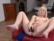 Exquisite kitten is peeing and rubbing shaven snatch