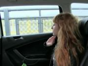Long hair redhead pussy fucked in taxi