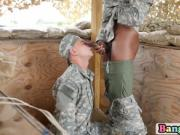 Soldiers are lured indoors for a hot threesome