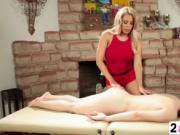 Ravishing blonde goddess giving a massage with a tongue