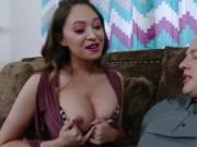 Stepsis shows her big tits to her stepbro and sucks him