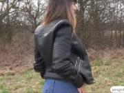 Charming babe Mona Kim flashes big tits for money