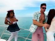 Horny busty ebony babes with the captain on the boat
