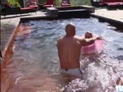 Blonde in bikini Emma Hix have sex in three way with he