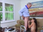 Tiny Brunette Michelle Martinez fucks an aged cock