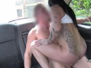 Tattooed slut fucks on backseat