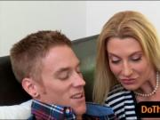 Big boobs stepmom Jennifer Best threesome action on the