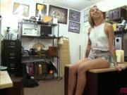 Sexy blonde slut fucks Shawns massive cock for money
