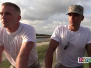 Horny soldiers go out on the field to fuck