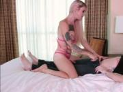 Blonde trans babe Lena Kelly loves hardcore anal in dog