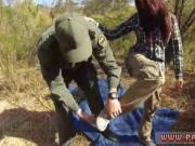 Oficer of patrol agrees to help redhaired babe to cross