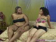 Pregnant ebony lesbos licking and using dildo