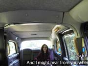 Fake taxi driver bangs brunette student in public