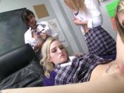 Flirty college babes fucked in the classroom