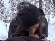 Pretty brunette snowboarder enjoys giving a blowjob
