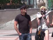 Blonde on a leash fucked in public