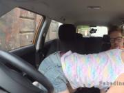 Hot babe gets creampie in driving school