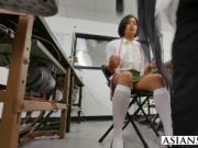 Young Asian tailor ruins black guy suit and now she mus