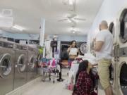 Hot Latina sucks and fucks in laundromat