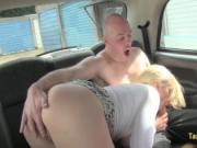 Two businessmen fucks blonde in taxi