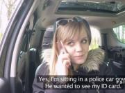 Blonde sucks and fucks fake cop in his van