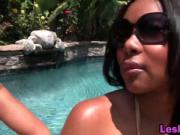 Busty black lesbians remove bikinis and make love by th