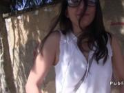 Ugly brunette amateur fucks outdoor