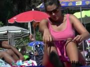 Two amazing nudist voyeur chicks on a nudist beach voye