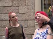 Handcuffed redhead back caned in public