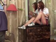 Virgin school hottie stripping on camera