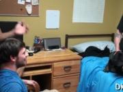 Gays arrange a group jerk off