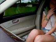 Brunette Alex Blake flashes perky tits in the car