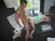 Blonde secretary Hannah likes fucking with boss