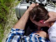 Hot teen hiker bangs on a quad outdoor