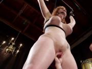 Submissive redhead lesbian anal strap on fucked
