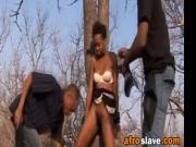 Smoking hot ebony chick got her hairy cunt abused by th
