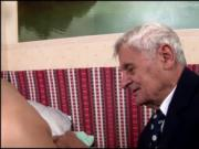 Teen Dia has a horny grandpa suck her tits and eat her