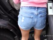 Petite teen beauty bangs in suv in public