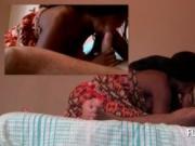 Lusty dude enjoying African hot blowjob