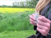 Huge clit Euro blonde fucks outdoor pov