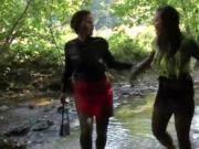 two nasty babes in the river gets horny when uses mud 6