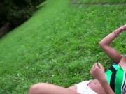 Natural beauty teen Cherry Kiss outdoor sex action
