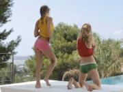 Two sweet girls Virginie and Alyssa dancing in siesta