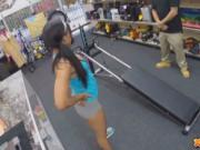 Latina babe fucked on excercise machine in pawn shop