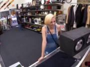 Jolly blonde chick gets sells her speakers and sells he