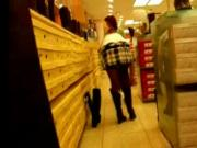 Girl Shopping Boots voyeur spy pussy public